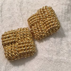 Lustrous vintage 1.5 inch square earrings. 1970s